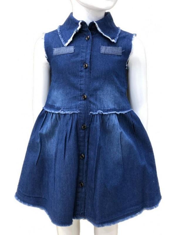 Платье из денима для девочек 2-3-4-5-6-7-8-9-10-11-12-13 лет 6M
