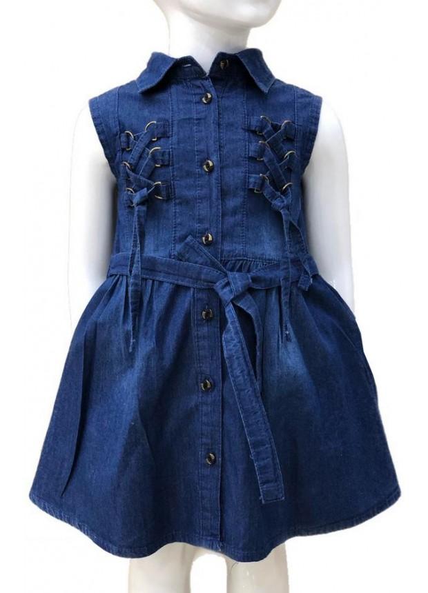 2-3-4-5-6-7-8-9-10-11-12-13 летнее джинсовое платье для девочек 2M