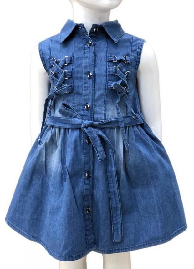 2-3-4-5-6-7-8-9-10-11-12-13 летнее джинсовое платье для девочек 1M