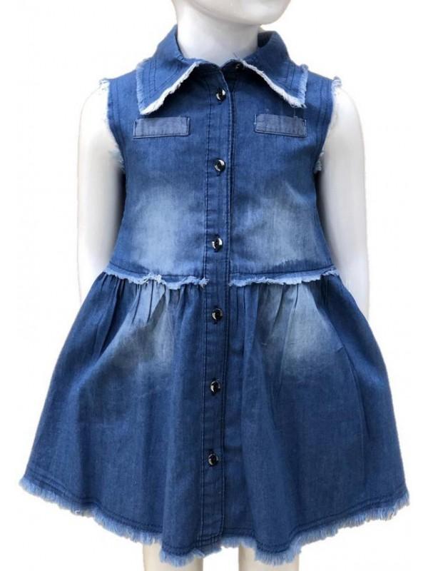 Джинсовое платье для девочек 2-3-4-5-6-7-8-9-10-11-12-13 лет 7M