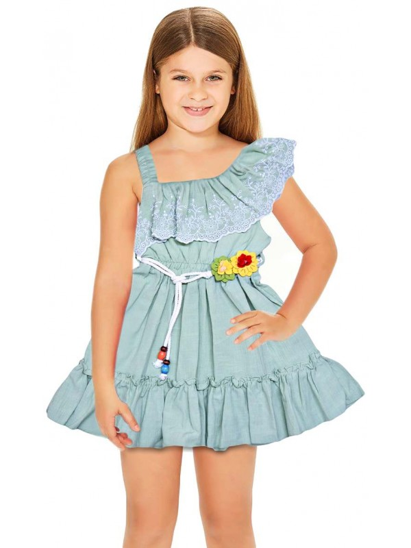 1-2-3 age summer floral girls dress wholesale green