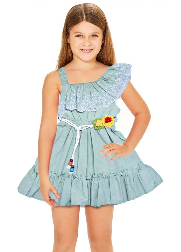 1-2-3 года летние цветочные платья для девочек оптом зеленые
