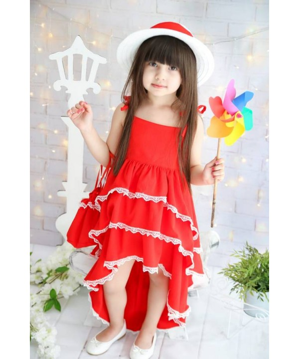New Model girls dresses summer style red color wholesale