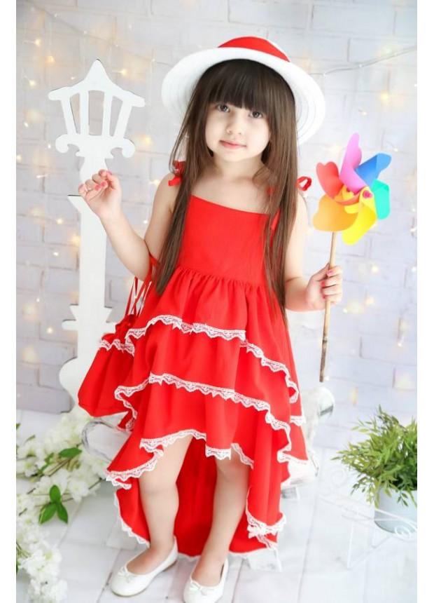 Yeni Model kız çocuk elbiseleri yazlık tarz kırmızı renk toptan