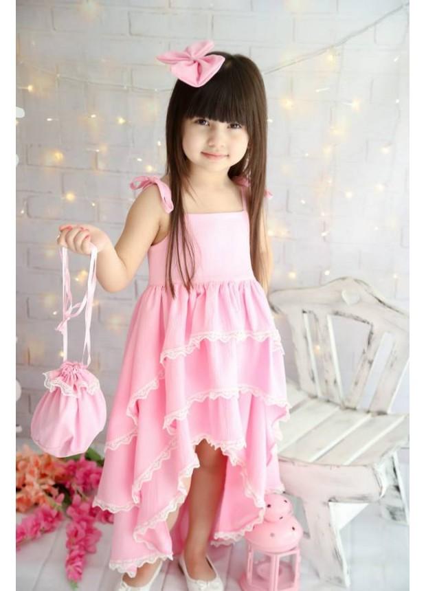 Yeni Model kız çocuk elbiseleri yazlık tarz pembe renk