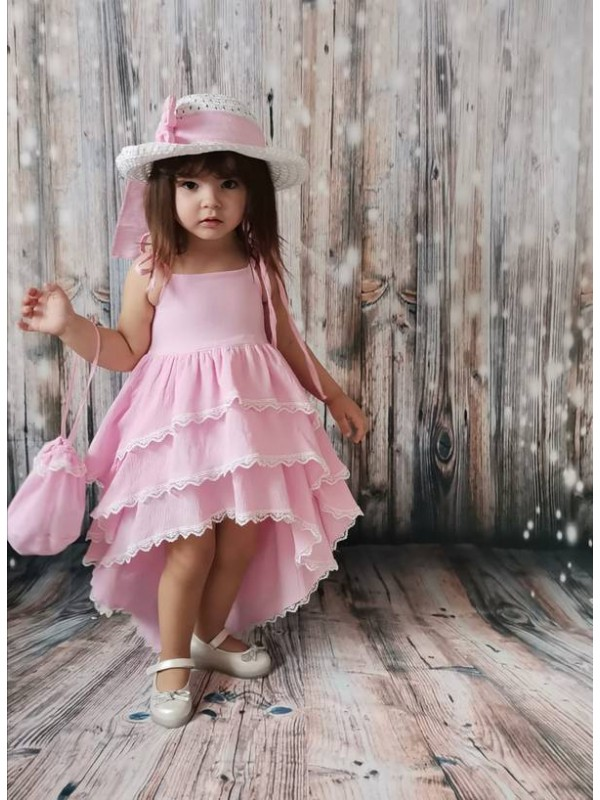 New Model girls dresses summer style pink color Wholesale