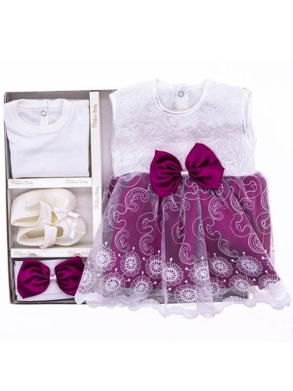 детское крестильное платье оптом комплекты детской коробки бордовое