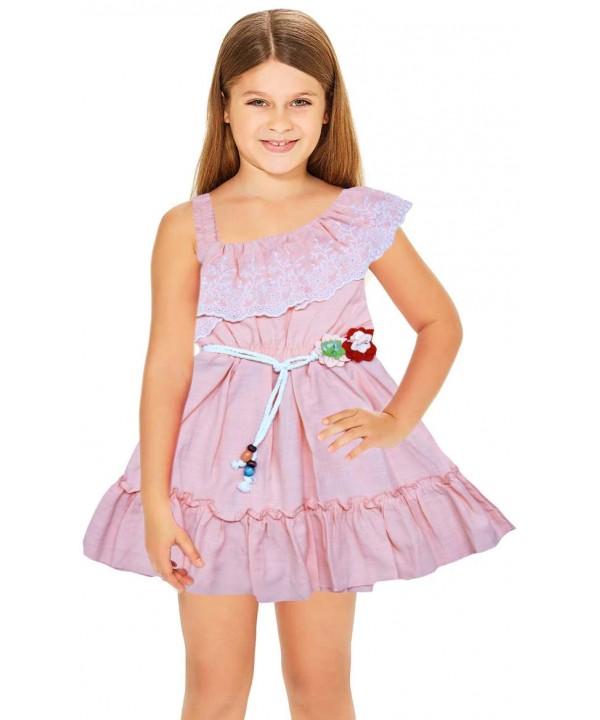 1-2-3 года летние цветочные платья для девочек оптом розовые