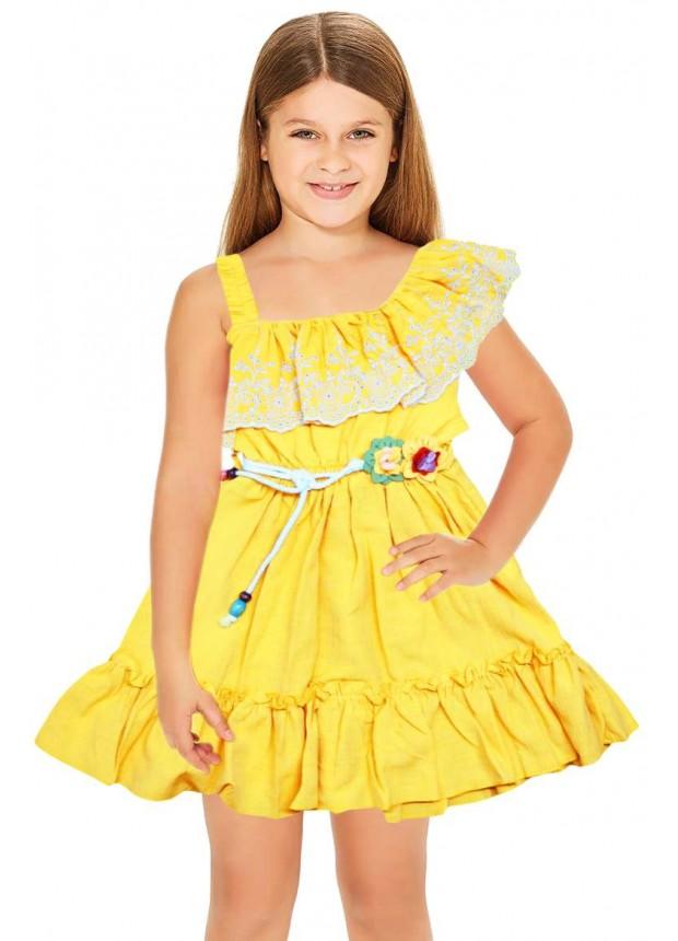 1-2-3 лет летнее платье для девочек-цветочниц оптом желтое