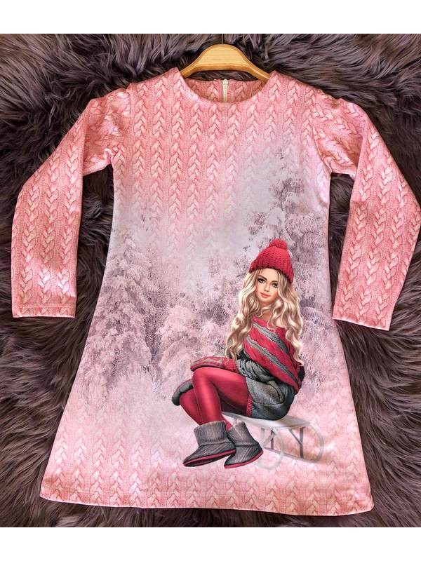 çocuk kız giyim toptan tunik elbiseler 6/9 yaş kış sezonu