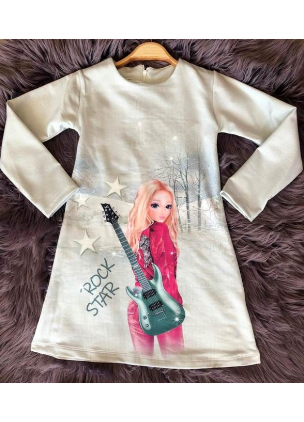 çocuk kız giyim toptan tunik elbiseler 6/9 yaş rock star
