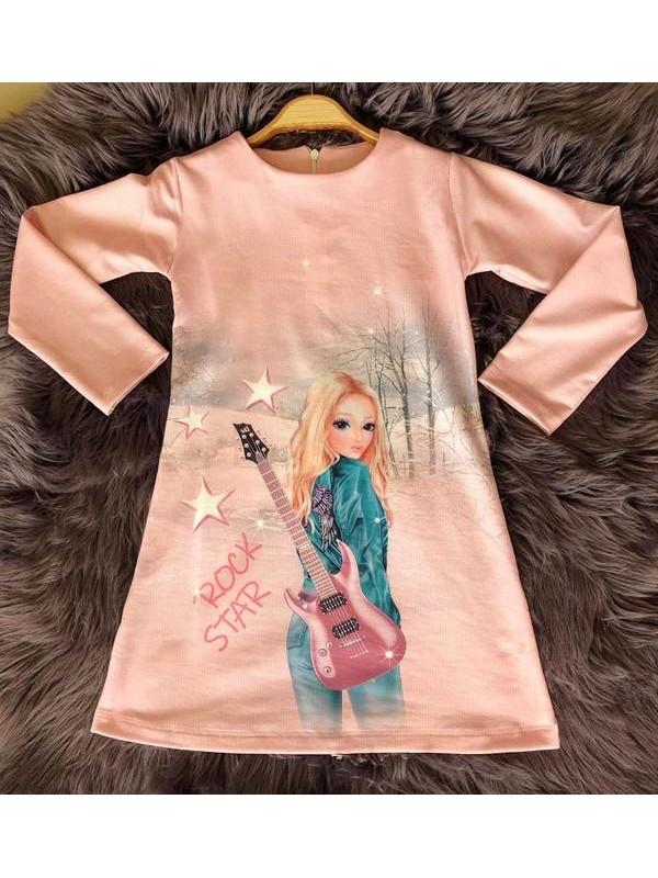 çocuk kız giyim toptan tunik elbiseler 6/9 yaş müzisyen