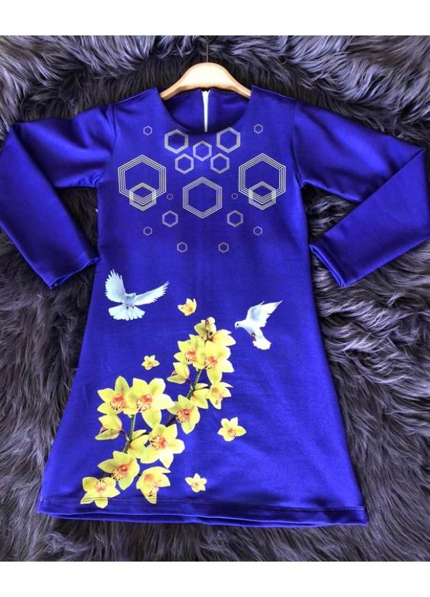 çocuk kız giyim toptan tunik elbiseler 6/9 yaş lacivert çiçekli