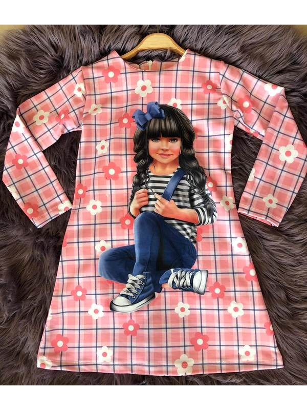 çocuk kız giyim toptan tunik elbiseler 6/9 yaş dijital baskı