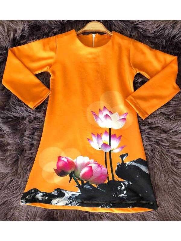 çocuk kız giyim toptan tunik elbiseler 6/9 yaş organik pamuk kumaş