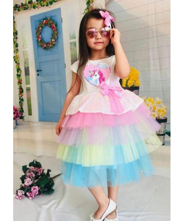 1-2-3-4-5-6-7-8-9 10-11-12 ages girls children wedding dress ball gown unicorn printed
