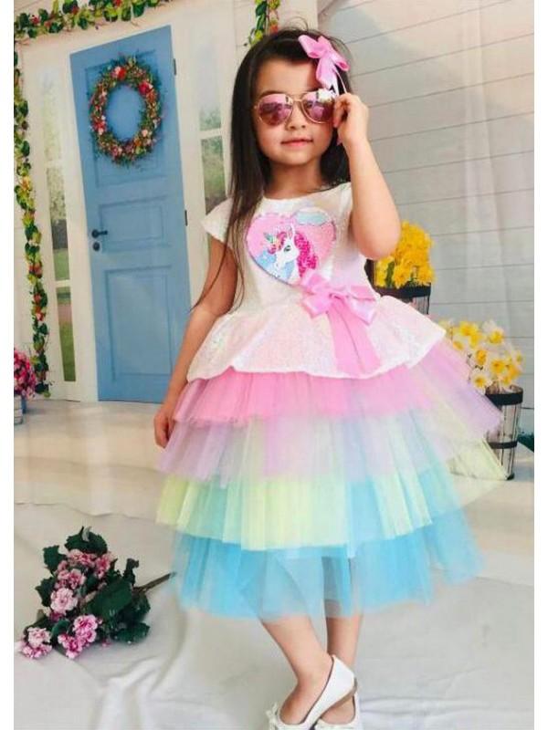 1-2-3-4-5-6-7-8-9 10-11-12 лет, детское свадебное платье для девочек, бальное платье с принтом единорога