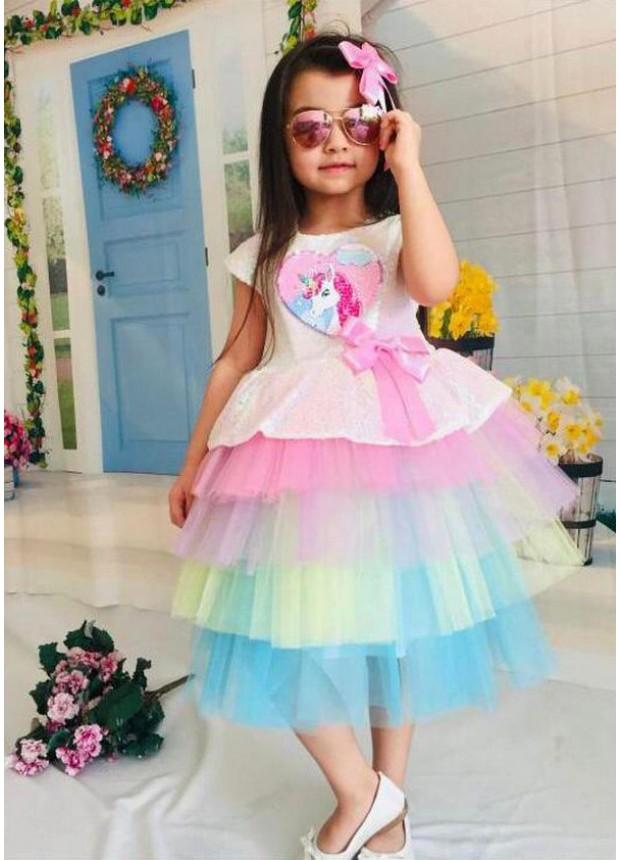 1-2-3-4-5-6-7-8-9 10-11-12 yaş kız çocuk gelinlik balo elbisesi unicorn baskılı