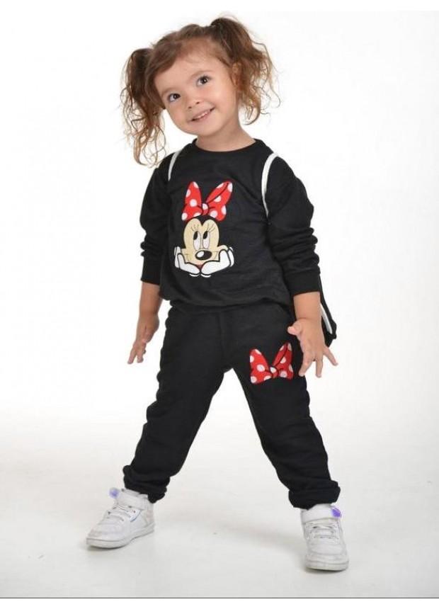 kış çocuk kız giysileri toptan 2/8 yaş Mickey Mouse baskılı siyah