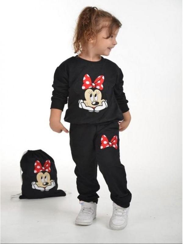 Зимняя детская одежда для девочек оптом 2/8 лет с принтом Микки Мауса черного цвета