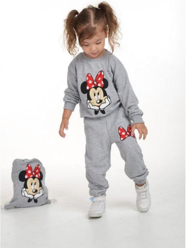 зимняя детская одежда для девочек оптом 2/8 лет с принтом Микки Мауса серого цвета