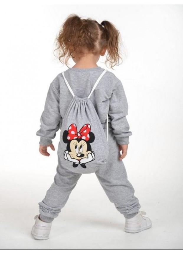 kış çocuk kız giysileri toptan 2/8 yaş Mickey Mouse baskılı gri