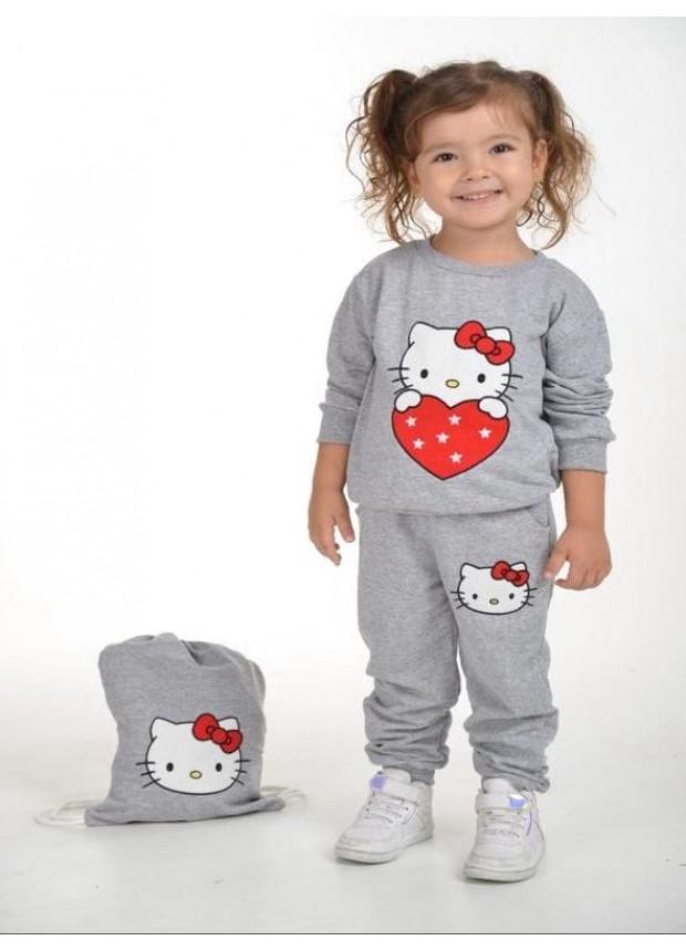 kış çocuk kız giysileri toptan 2/8 yaş hello kitty baskılı gri