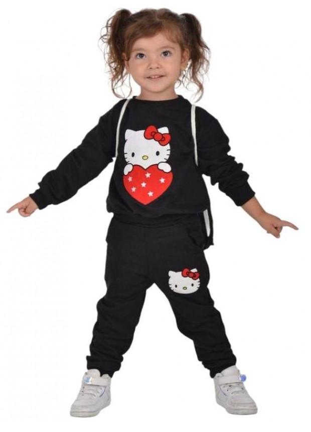 kış çocuk kız giysileri toptan 2/8 yaş hello kitty baskılı siyah