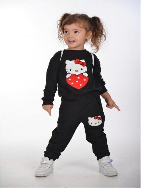 зимняя детская одежда для девочек оптом 2/8 лет hello kitty с принтом черного цвета