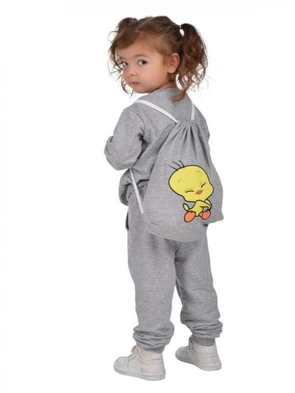 зимняя детская одежда для девочек оптом 2/8 лет с принтом Твити серый