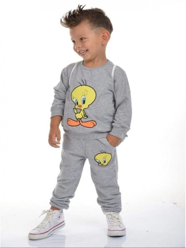 winter kids boys clothes wholesale 2/8 ages tweety printed gray