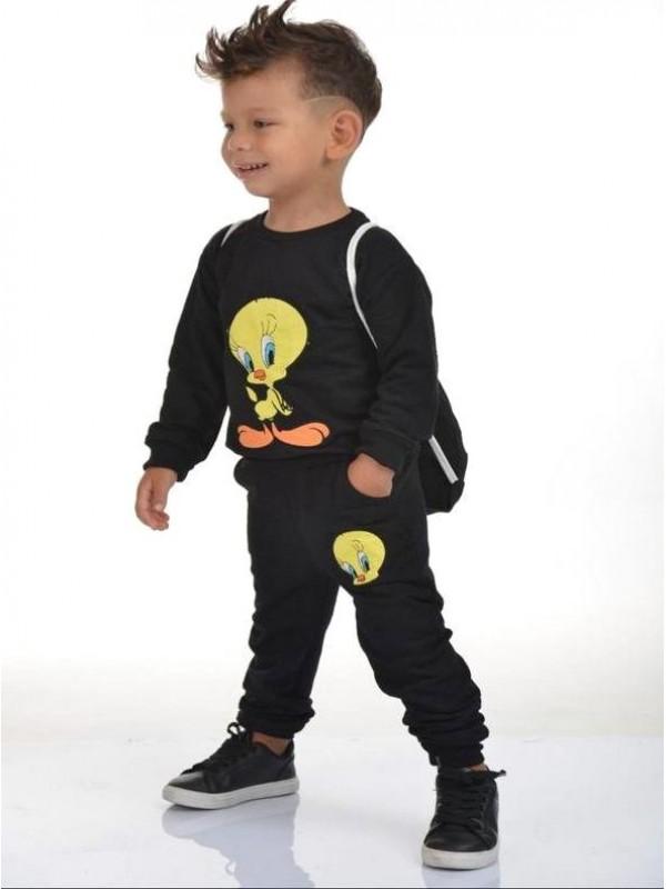 зимняя детская одежда для мальчиков оптом 2/8 лет с принтом твити черный