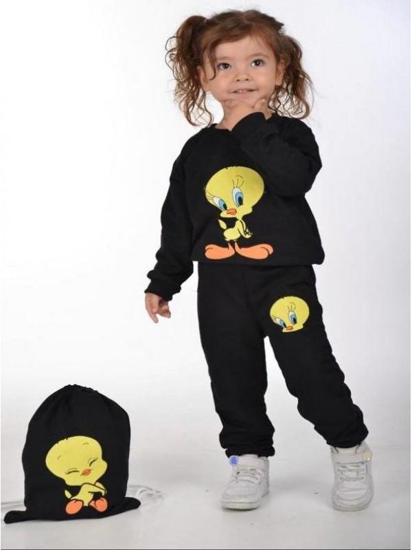 зимняя детская одежда для девочек оптом 2/8 лет Tweety с принтом черного цвета