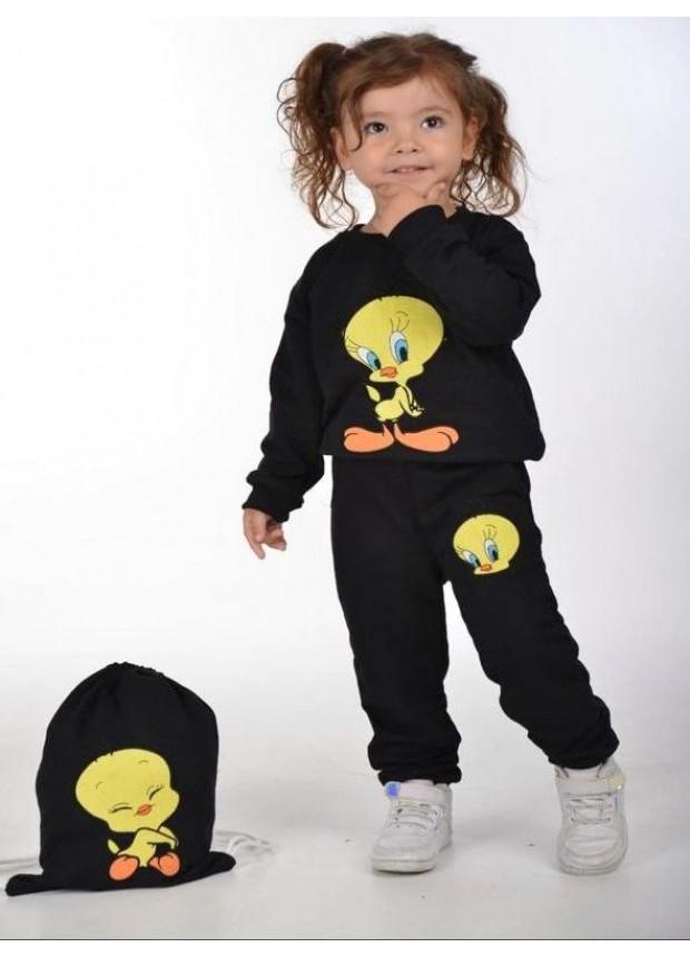 kış çocuk kız giysileri toptan 2/8 yaş Tweety baskılı siyah