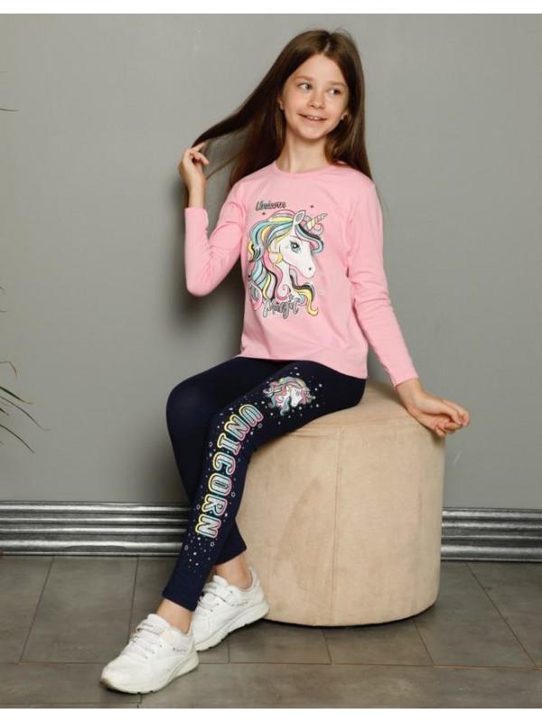 детская одежда для девочек пижамные спортивные костюмы 3/10 возраст единорог розовый