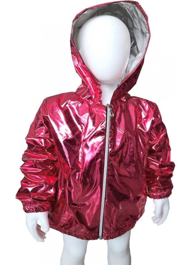kız çocuk kaliteli yağmurluk fosforlu parlak fuşya 5 6 7 8 yaş